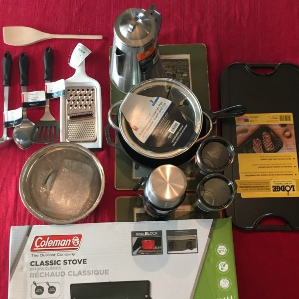 minivan camping kitchen supplies