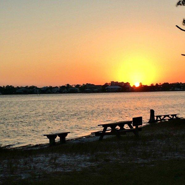 Big Lagoon State Park, Florida at sunset.