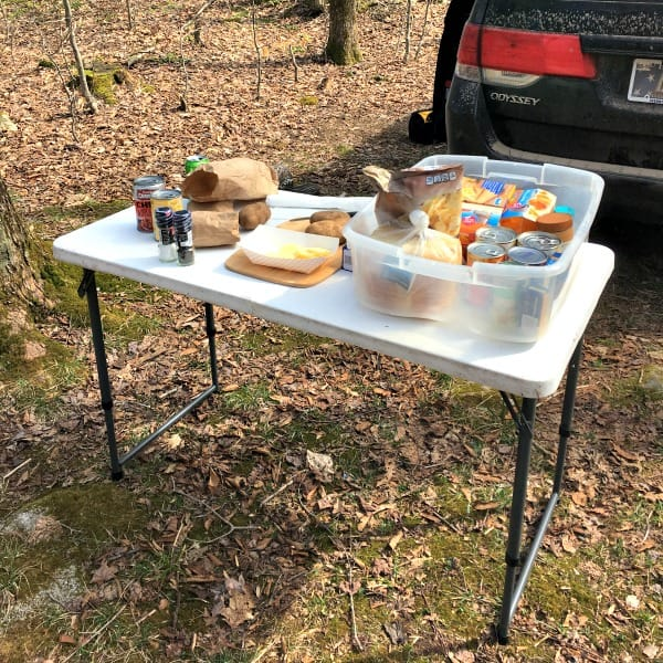 kitchen set up for our minivan camper