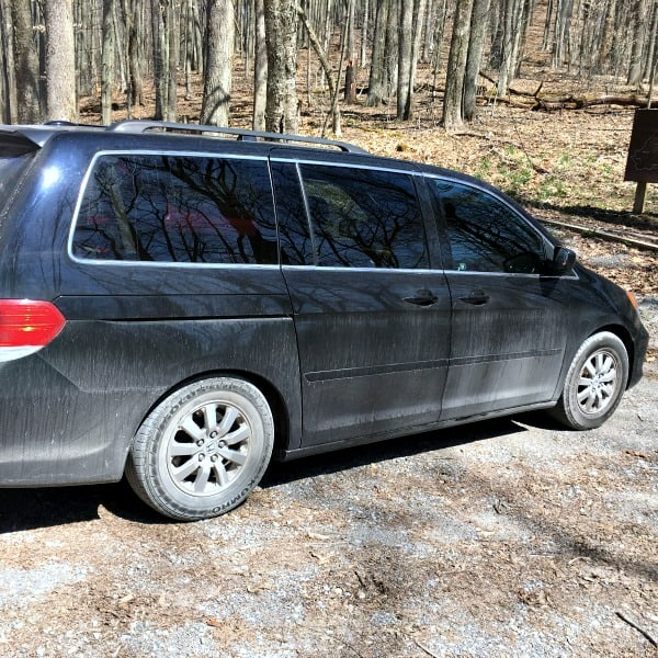 Our dusty minivan camper after a day of exploring the trails of West Virginia.