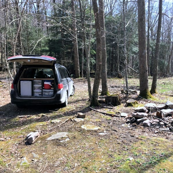 Free camping in the Monongahela National Forest in our minivan camper.