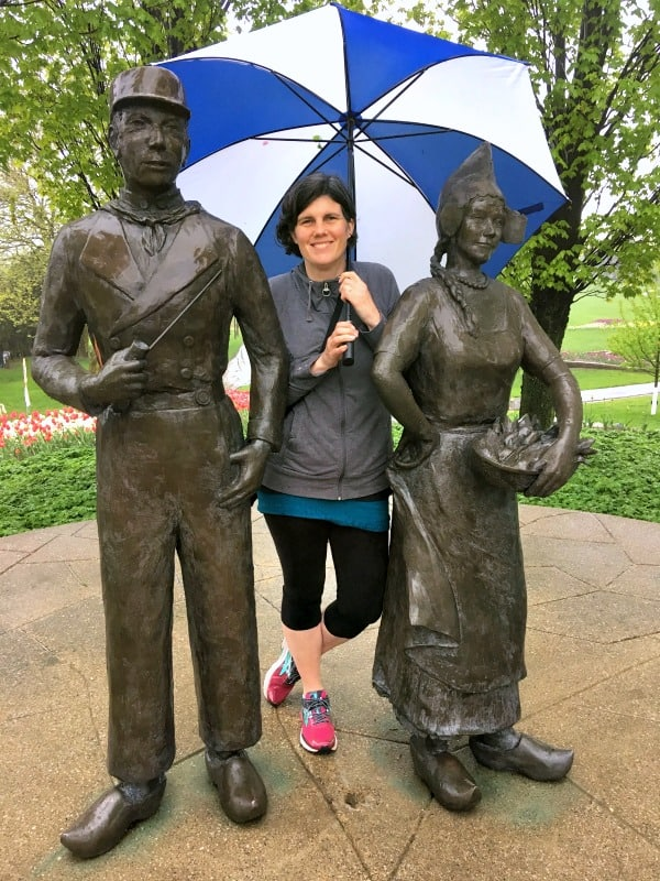 Life size Greertje and Cornelis Statues in Holland, Michigan.