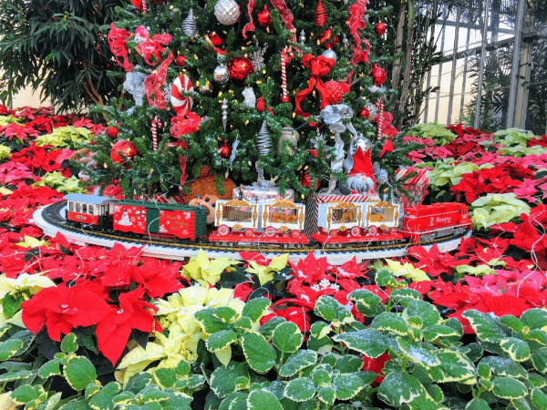 The Christmas train at the Garfield Conservatory Christmas event in Indy.