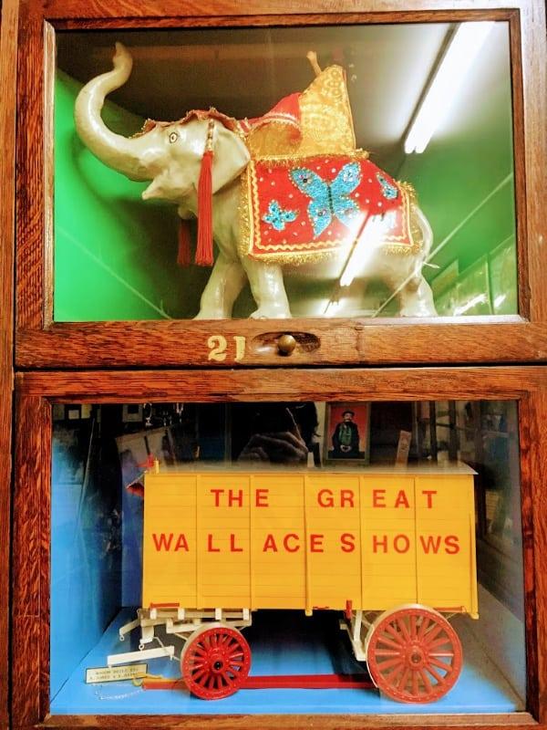 Display of circus models, Miami County Museum, Peru, Indiana.