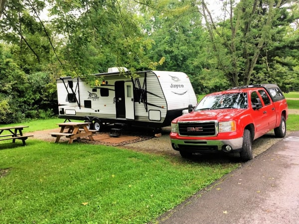 27 foot trailer in campsite 102 Mississinewa Lake campground,.