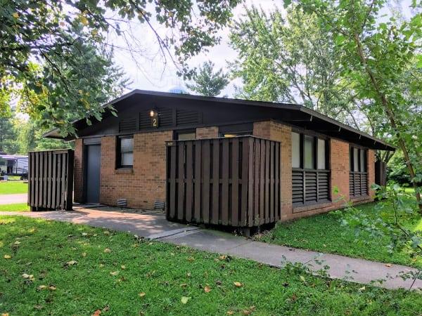 Bathhouse in Mississinewa Lake Campgrounds, Indiana.
