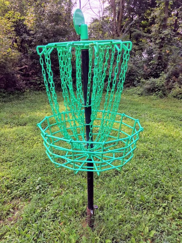Disc golf basket on the disc golf course in Mississinewa Lake State Park, Indiana.