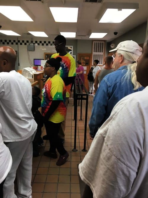 The line at Long's Bakery Indianapolis--well worth the time it takes to get your hands on those donuts