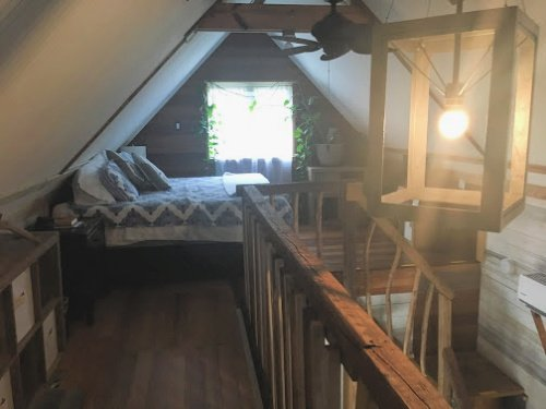 The loft area in the Airbnb
