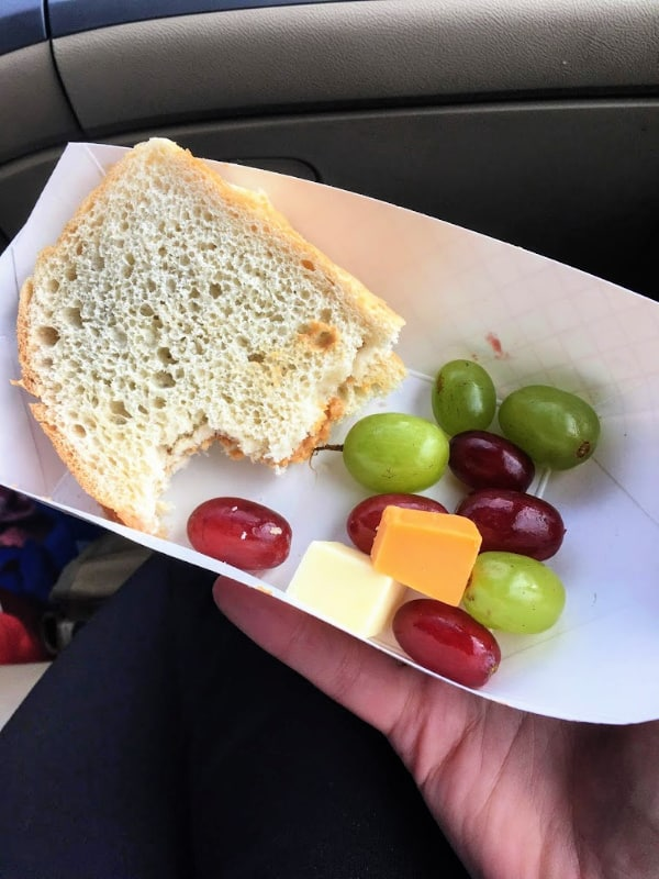A typical lunch served out of our minivan camper kitchen.