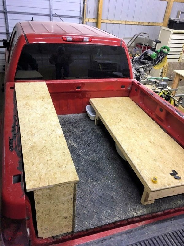 Counter top for the truck bed camper.