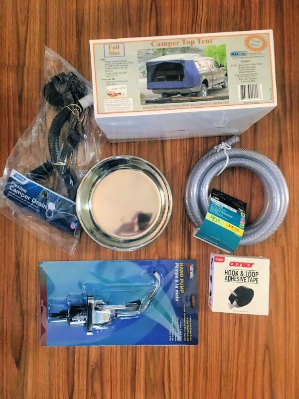 A few supplies we bought to convert our truck topper into a camper