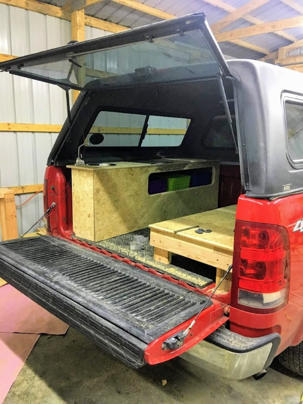 The first glimpse at what the DIY truck camper will look like when it is done.