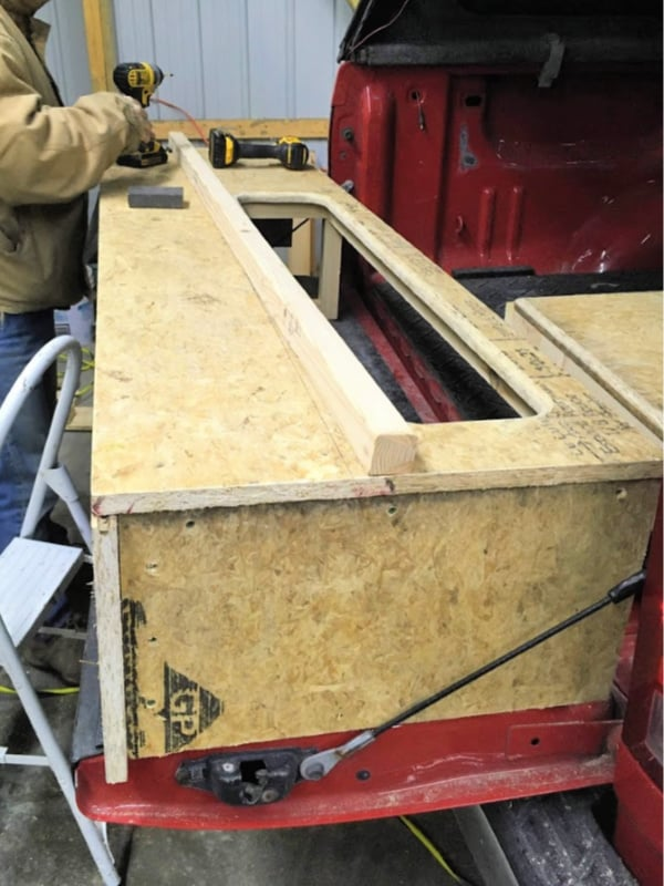 The other railing for the removable bed platform in the DIY pick up truck camper.
