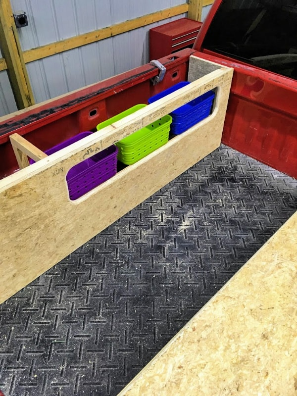 What the finished storage access area of the truck bed camper looks like.