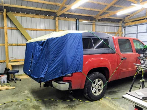 How the DAC truck tent fits on our GMC Sierra 1500.