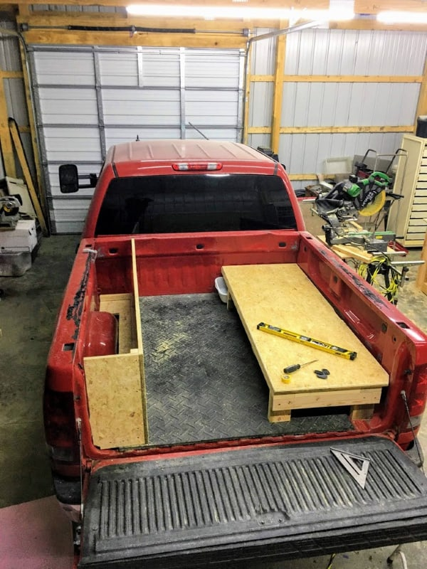What the floor space will look like in the DIY truck camper in day mode.