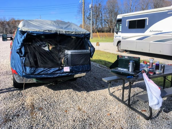 Setting up camp with our hand built truck topper camper.