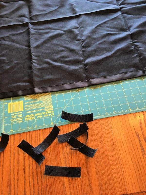 Getting ready to adhere the velcro to our truck canopy camper curtains.