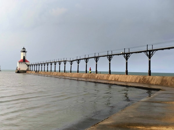 The pier walk to Michigan City East Pierhead Lighthouse--lower level.