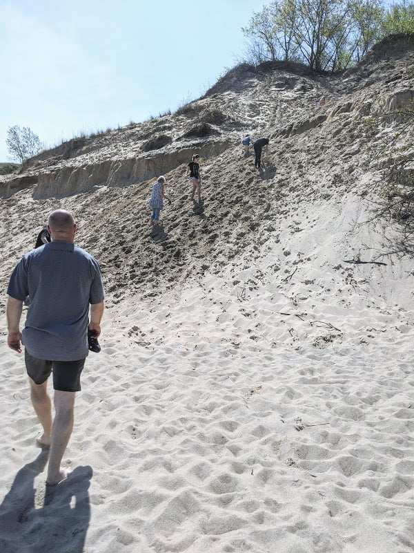 The climb to get back on the trail to the parking lot at Mt. Baldy: Michigan City, Indiana