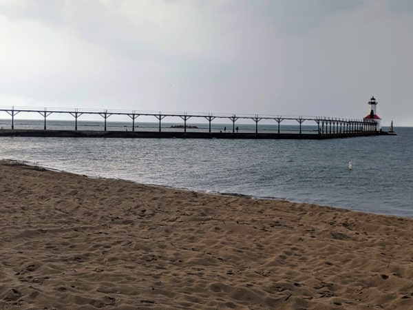 The pier walk to Michigan City East Pierhead Lighthouse