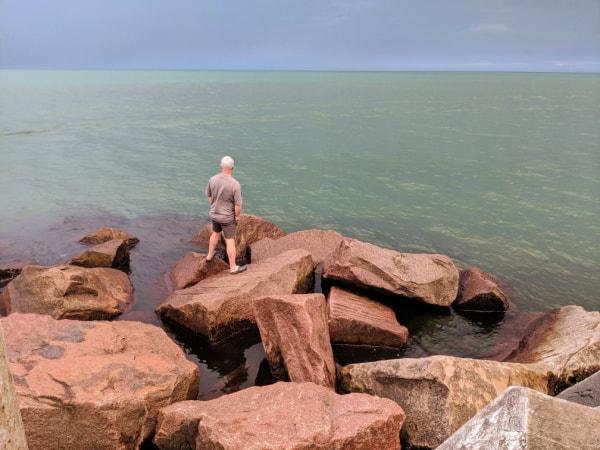 The rocks behind Michigan City East Pierhead Lighthouse.