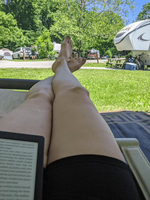 Relaxing in the campground in Brown County State Park, Indiana.