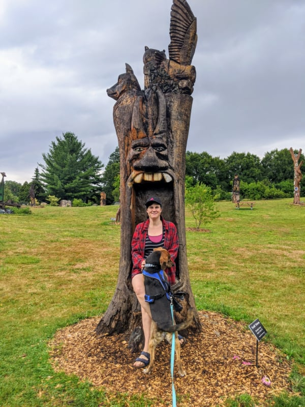 Wood carving in the Fantasy Forest, Battle Creek, Michigan.