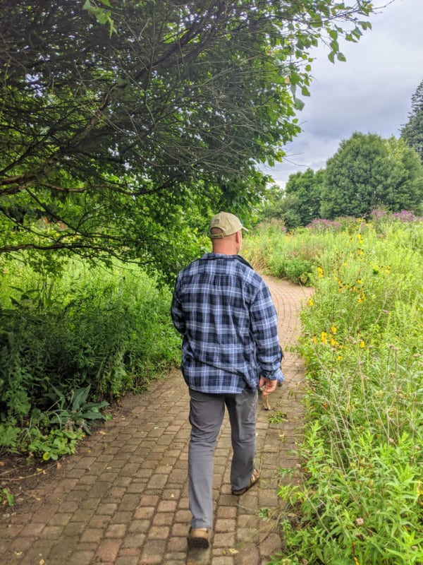 Garden path in the gardens of Leila Arboretum.
