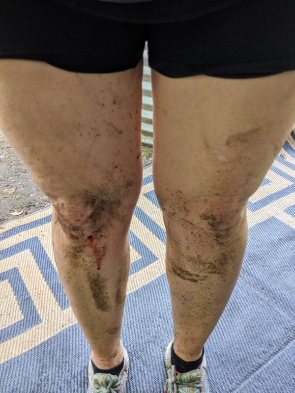 Just how muddy you can get on the mountain biking trails of Fort Custer Recreation Area, Michigan.