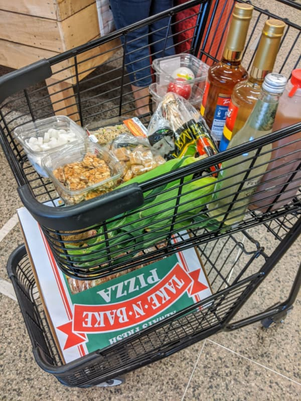 Full cart at Horrocks Farm Market in Battle Creek, Michigan.