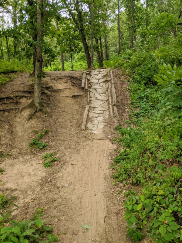 Hill on mountain bike path in Fort Custer Recreation Area, Michigan.