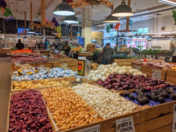 The produce section of Horrocks Farm Market in Battle Creek, Michigan.