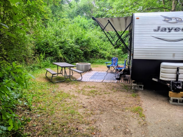 Typical campsite in Fort Custer Recreation Area, Michigan.