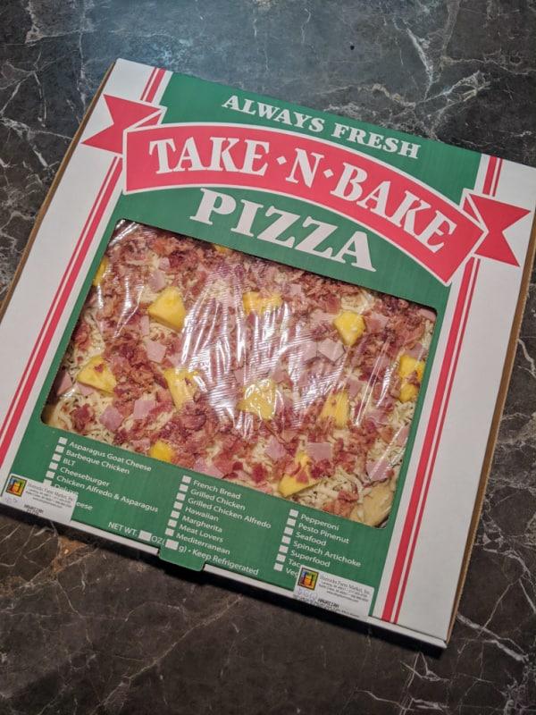Take-n-bake pizza from Horrocks Farm Market in Battle Creek, Michigan.