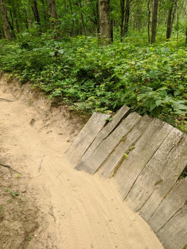 Ramp on mountain bike path in Fort Custer Recreation Area, Michigan.