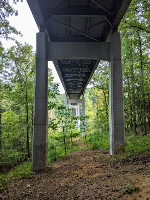 Blue Ridge Parkway Virginia Hikes: Trail under the bridge
