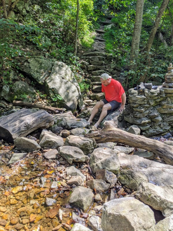 Blue Ridge Parkway Virginia Hikes: Soaking our feet into the water on the Fallingwater Cascades Trail