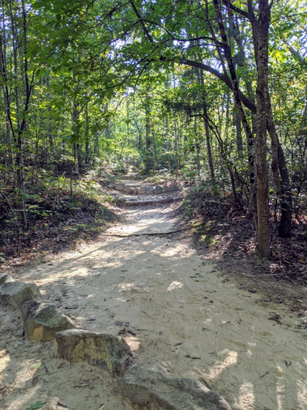 The trail to Devil's Marbleyard starts out with a slow and gradual uphill climb. This hike is a great detour off the Blue Ridge Parkway in Virginia.