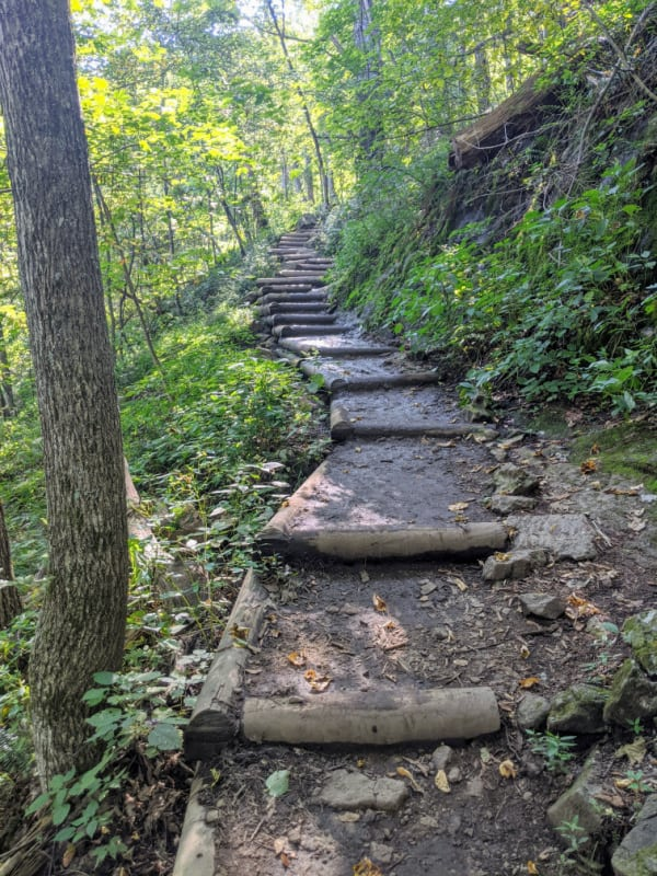 If you don't like stairs, the trail to the top of Crabtree Falls in Virginia isn't for you. Located a few miles off the Blue Ridge Parkway.