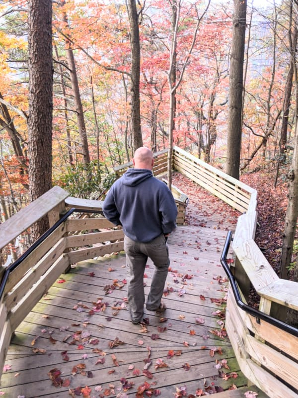 Steps to the New River Gorge Bridge Overlook.