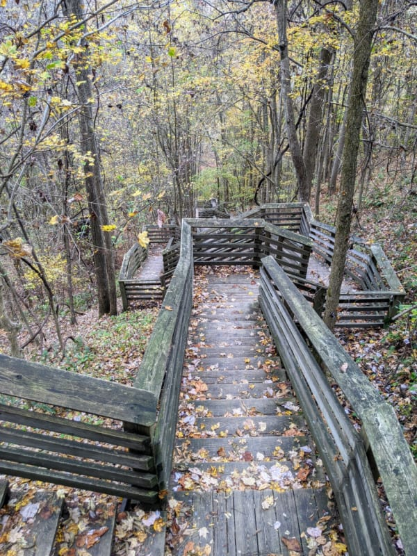 The 821 steps that take you to the remains of the Kaymoor coal processing plant and town site.