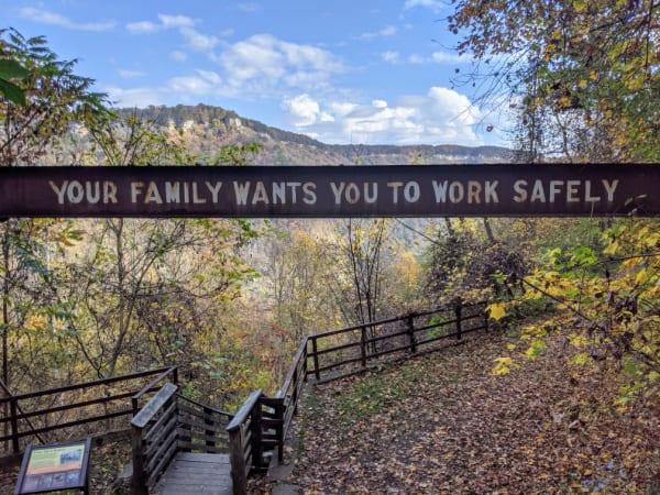 The Kaymoor Mine sign on the Kaymoor Miner's Trail.