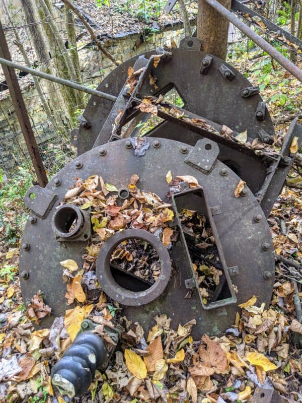 Abandoned mining equipment at the Kaymoor coal processing site.