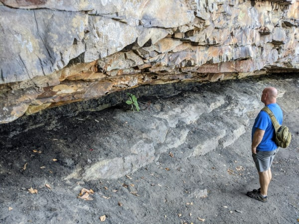 Jack looking at a coal seam found along Castle Rock Trail in New River Gorge National Park.