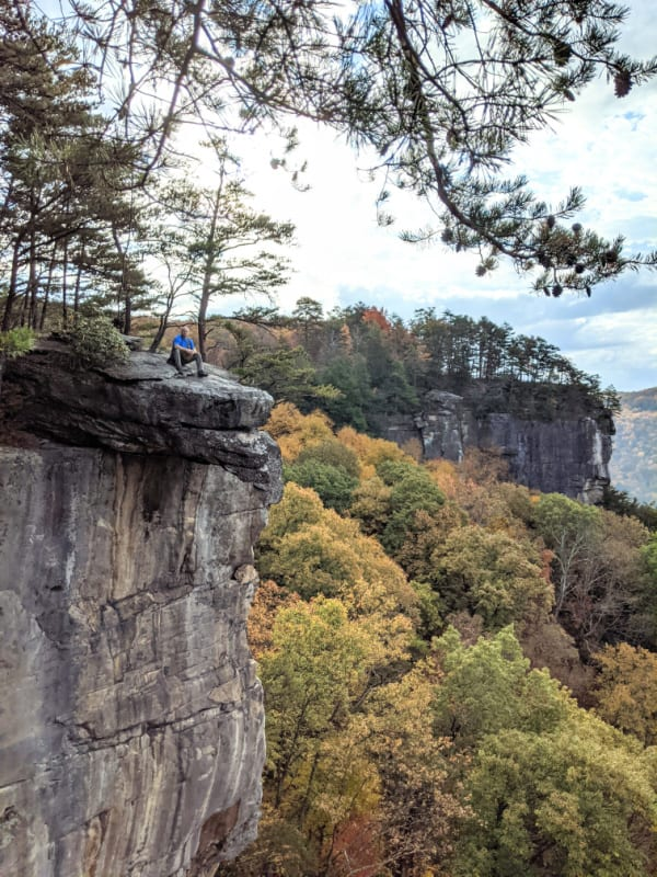 Hanging out on a rock on the Endless Wall Trail overlooking the New River Gorge.