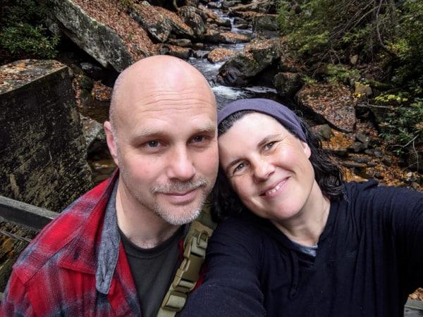 Couple selfie taken on the swinging bridge in Babcock State Park, WV.
